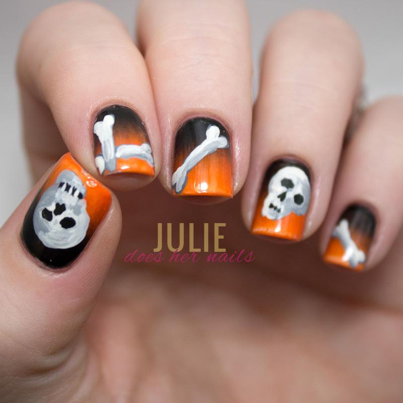 Skulls and Bones Nail Art nail art by Julie