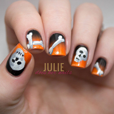 Skulls and Bones Nail Art nail art by Julie