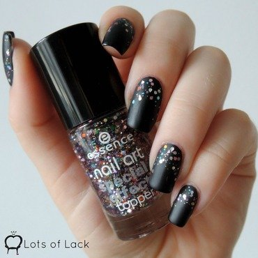 Matt Black Glitter Nails nail art by LotsOfLack