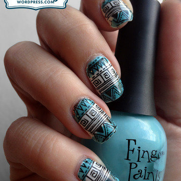 Tribal Stamped Nails nail art by Katie