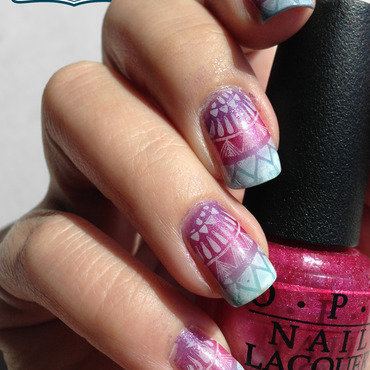 Colorful Gradient Nails w/ a Stamp nail art by Katie