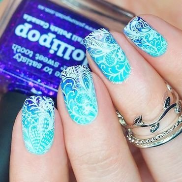 Stamping On Gradient nail art by Lou
