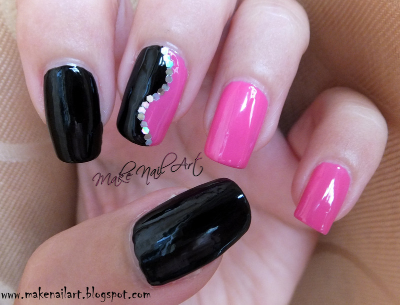 Black And Pink Nail Art Design - Black And Pink Nail Art Design Nail Art By Make Nail Art