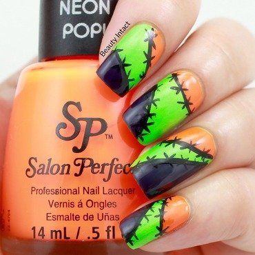Halloween Stitch Nails nail art by Beauty Intact