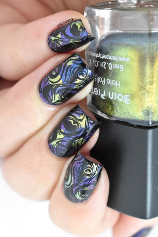 Peacock nails nail art by Marine Loves Polish