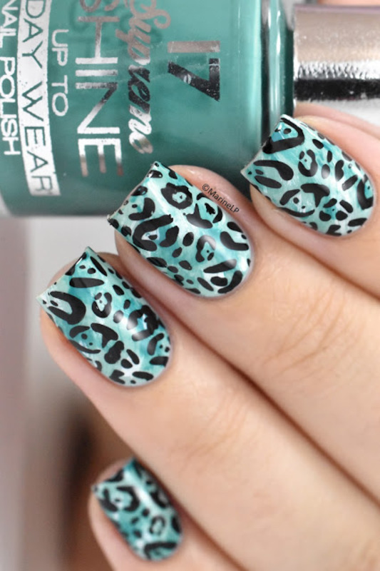 Green leopard nail art by Marine Loves Polish