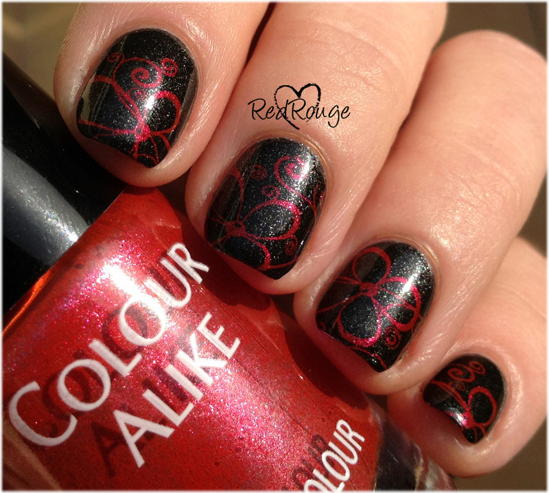 Red flowers on black nail art by RedRouge