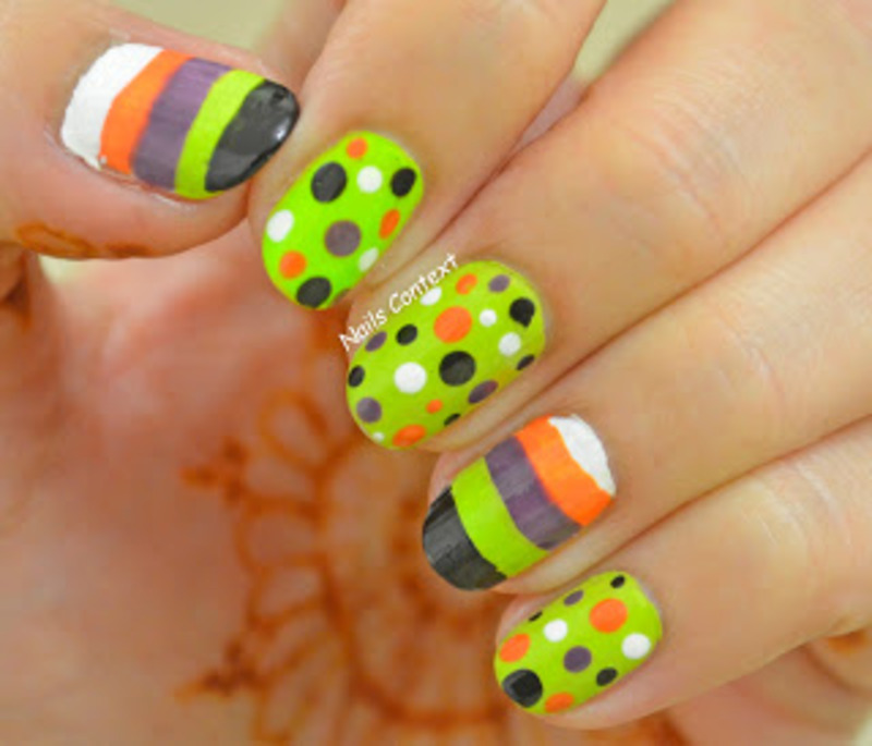 Halloween Stripes and Dots nail art by NailsContext