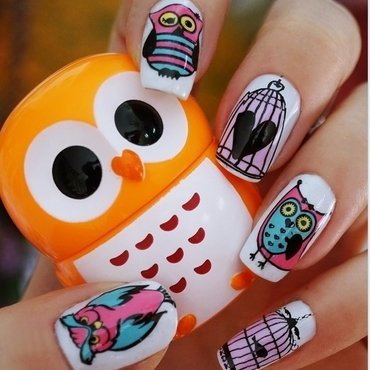Enchanted owls nail art by Cranberry Fairy