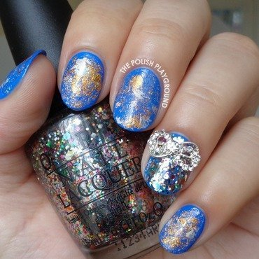 Blue with Silver and Bronze Nail Foil nail art by Lisa N