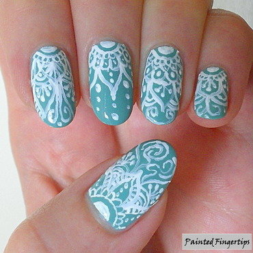 Delicate minty freehand art nail art by Kerry_Fingertips