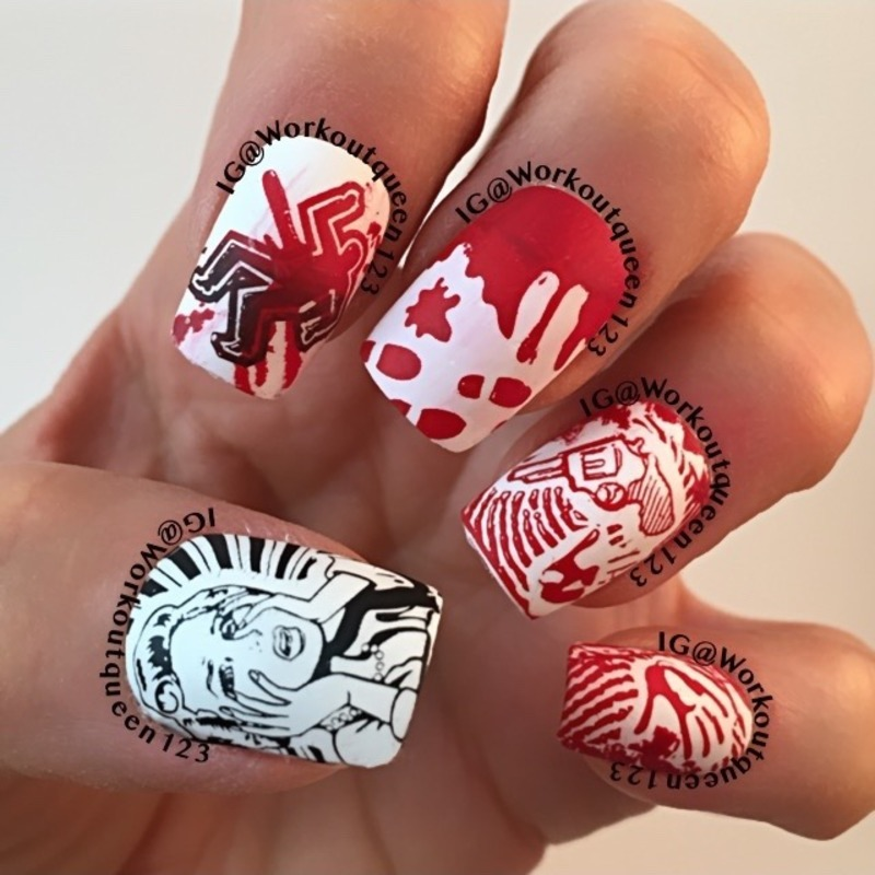 Blood Scene nail art by Workoutqueen123