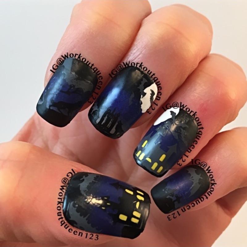 Bats on a dark night nail art by Workoutqueen123