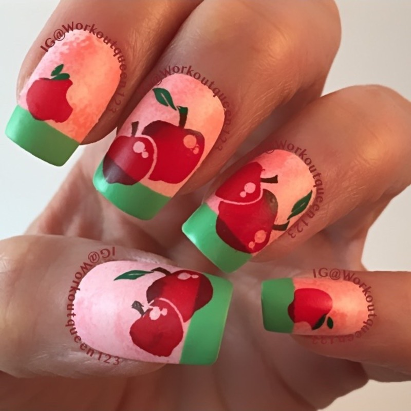 French Tip Apple Mani Nail Art By Workoutqueen123