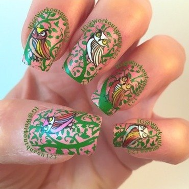 Owl mani nail art by Workoutqueen123
