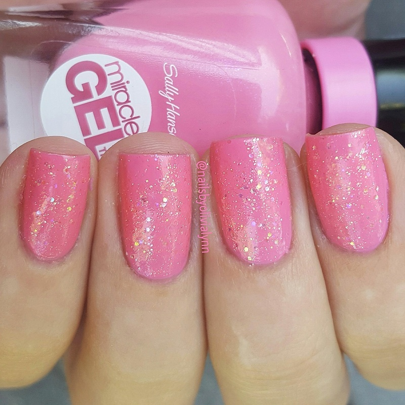 Sinful Colors Pinky Glitter and Sally Hansen Miracle Gel Shock Wave Swatch by Olivia D.