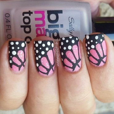 Matte Pink Butterfly Wings  nail art by Olivia D.