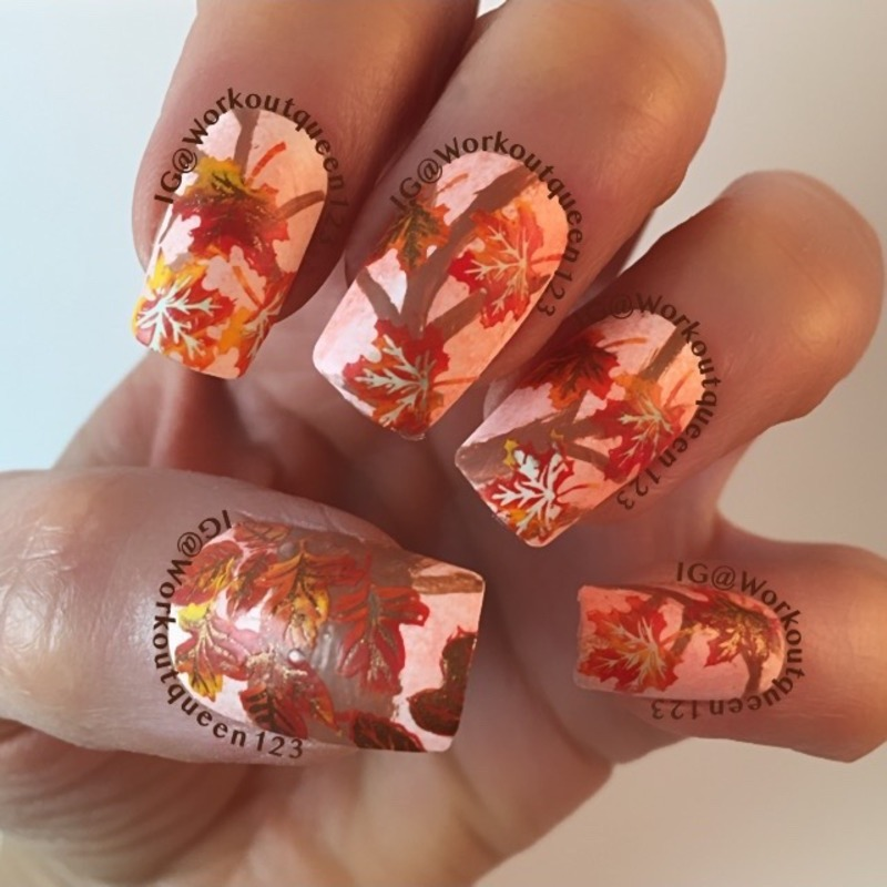 Falling leaves mani nail art by Workoutqueen123