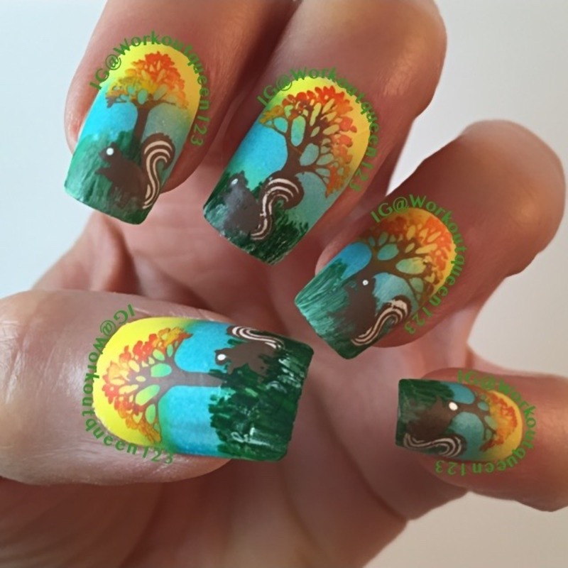 Squirrel mani nail art by Workoutqueen123