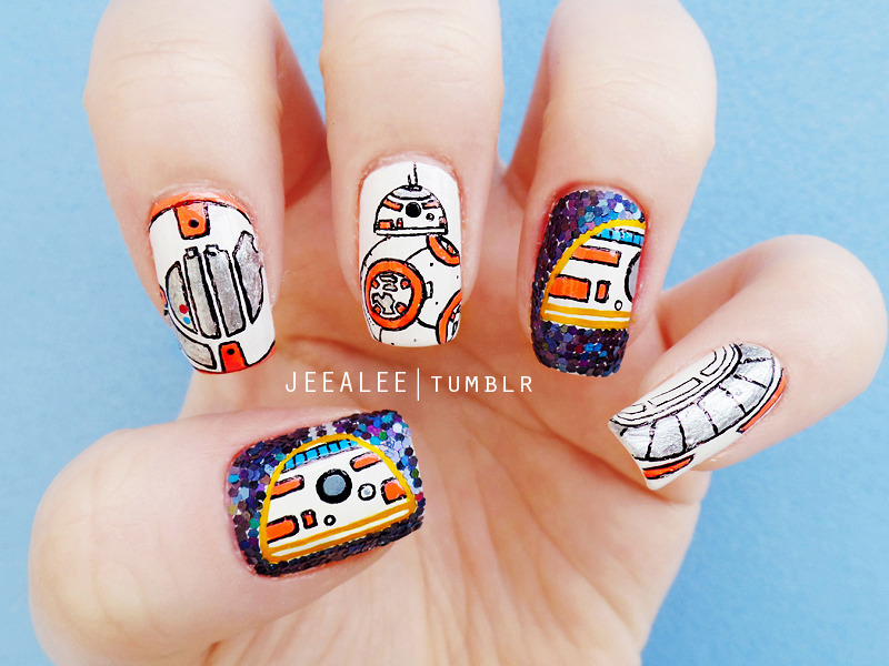 BB-8 Nails | Star Wars: The Force Awakens nail art by JeeA Lee - BB-8 Nails Star Wars: The Force Awakens Nail Art By JeeA Lee