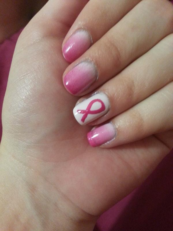 breast cancer awareness nail art by Maya Harran