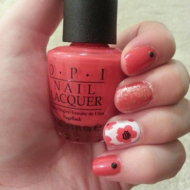 red flowers nail art by Maya Harran