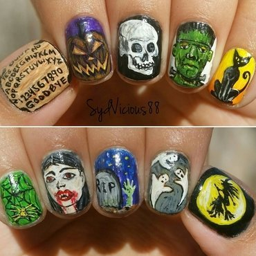 Epic Halloween  nail art by SydVicious