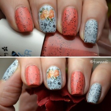 Simple two polish combination and a decal for busy days nail art by Andrea  Manases