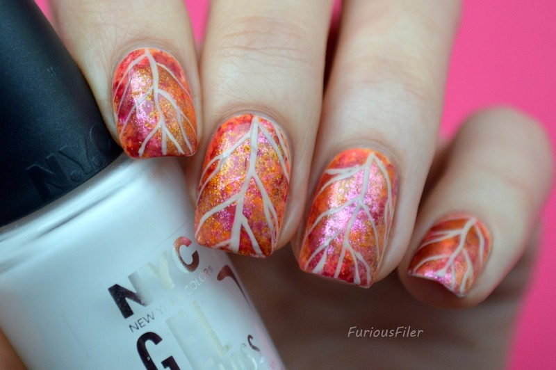 Sparkly Autumn Leaf Nail Art By Furious Filer Nailpolis Museum Of