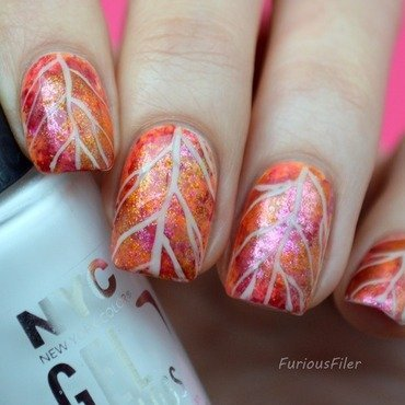 Sparkly Autumn leaf nail art by Furious Filer