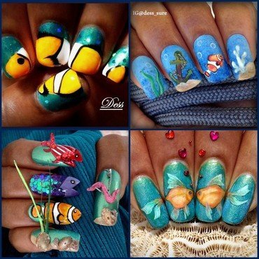 Swimming  nail art by Dess_sure