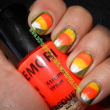 Candy Corn! nail art by Cecilia Brown