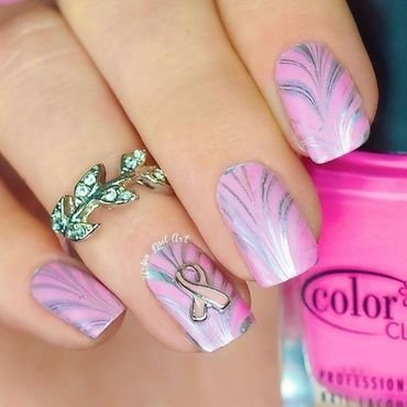 Breast Cancer Awareness nail art by Lou