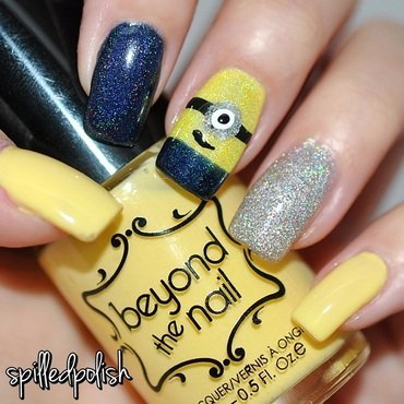 Holographic Minions! nail art by Maddy S
