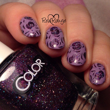 Purple glitter flowers nail art by RedRouge