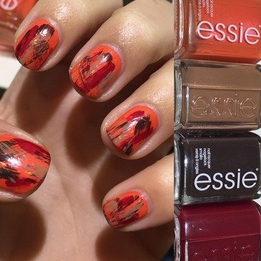 Essie Fall Drybrush  nail art by Amandineprc