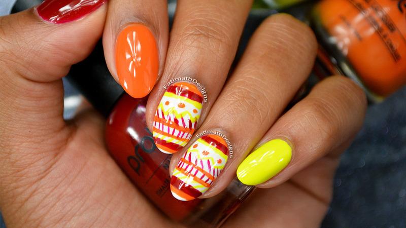 Autumn Tribal nail art by Fatimah