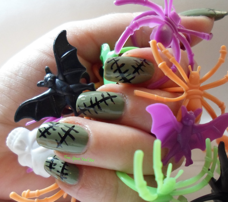 Frankenstein Nails nail art by Free_Spirit_Nail_Art
