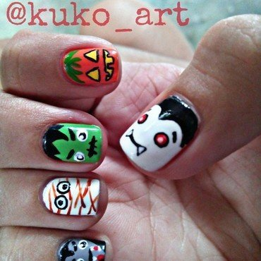 spooky nails nail art by kukoart