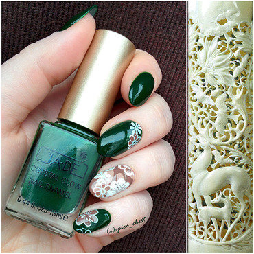 Carved Bone nail art by Svetlana