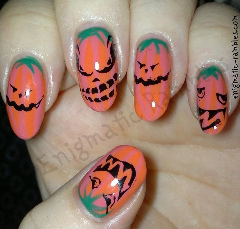Evil Pumpkin Nails nail art by Enigmatic Rambles