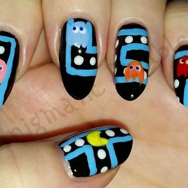 Pacman Nails nail art by Enigmatic Rambles