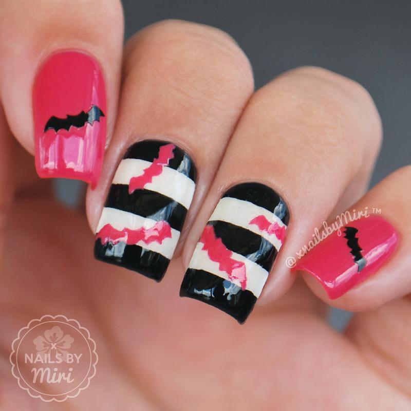 Pink Halloween Bats Nails nail art by xNailsByMiri