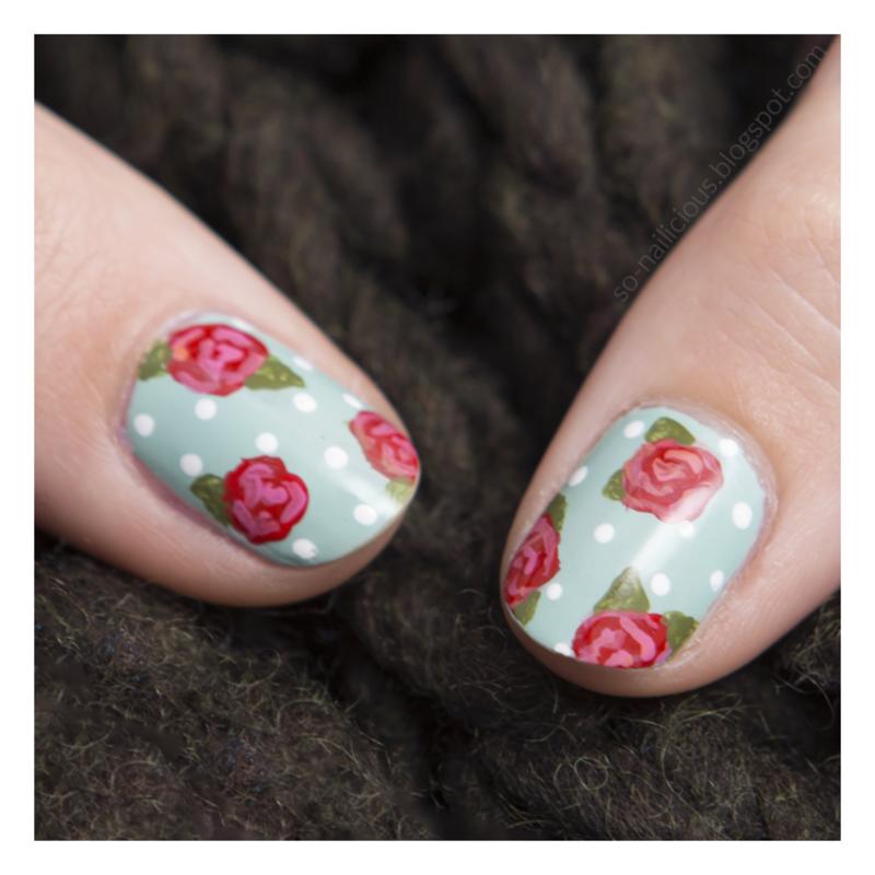 40 GNAI - Week 2: Teal nail art by Magdalena