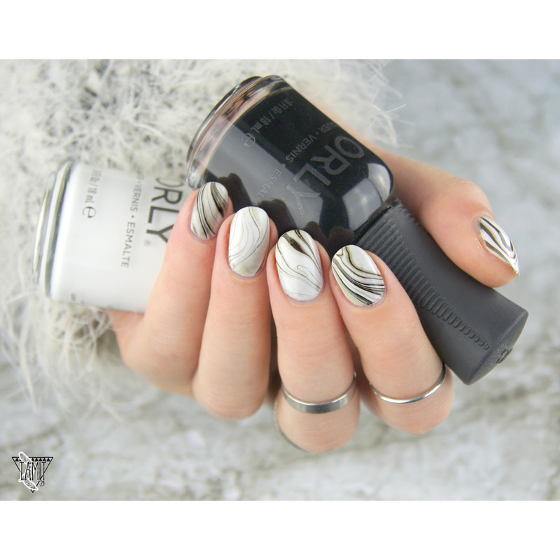Black and White marble nails. nail art by Paulina