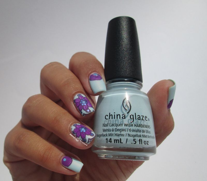 China Glaze Dashboard dreamer with flowers nail art by ...