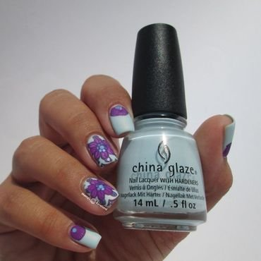 China Glaze Dashboard dreamer with flowers nail art by Marina