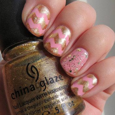 Pink/Gold Chevrons nail art by Emelie J