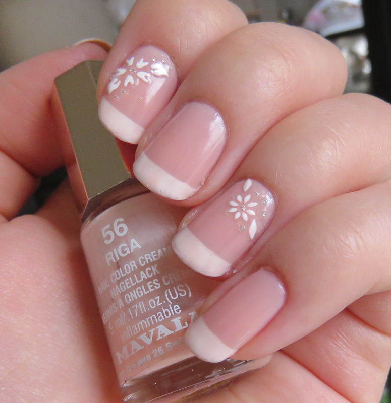 Classic French Manicure with stickers nail art by Emelie J ...