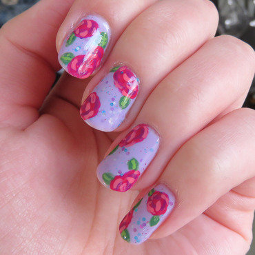 Roses on glitter nail art by Emelie J